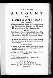 Rogers, Robert, 1731-1795, author, publisher. A concise account of North America :